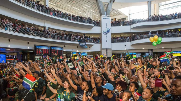 Huge crowds greeted the Springboks on their return to South Africa