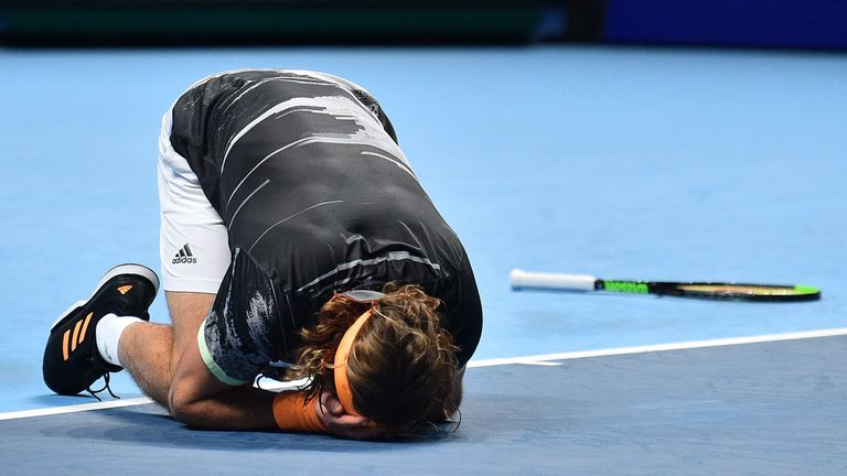 Tsitsipas collapsed to his knees after two hours and 35 minutes
