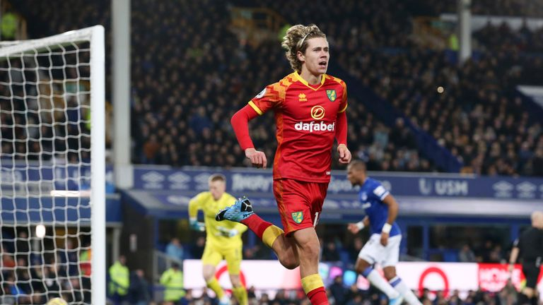 Todd Cantwell opened the scoring in Norwich's 2-0 lead at Goodison Park in November