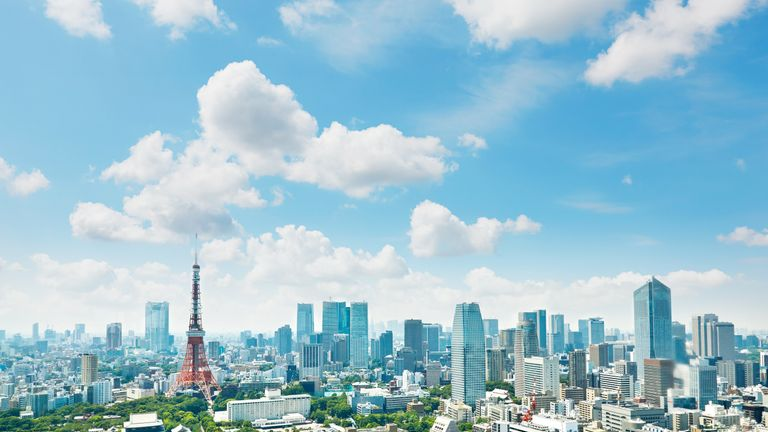 The Tokyo Tower sits amid a stunning skyline