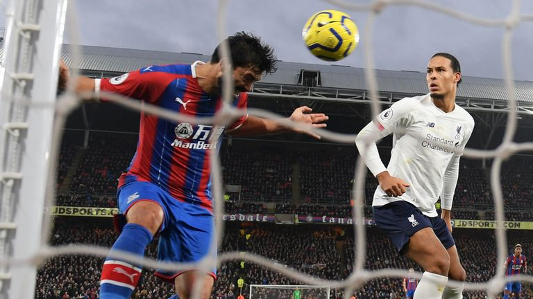 James Tomkins' scores for Crystal Palace against Liverpool only to find the goal disallowed by VAR