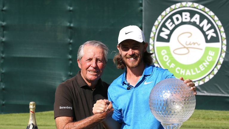 Fleetwood collects his prize from tournament host Gary Player
