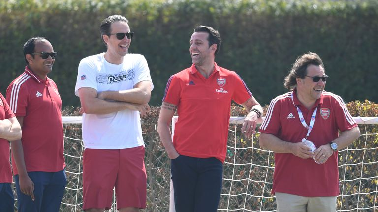 From left to right, Arsenal managing director Vinai Venkatesham with Josh Kroenke, technical director Edu and head of football relations Raul Sanllehi in the summer