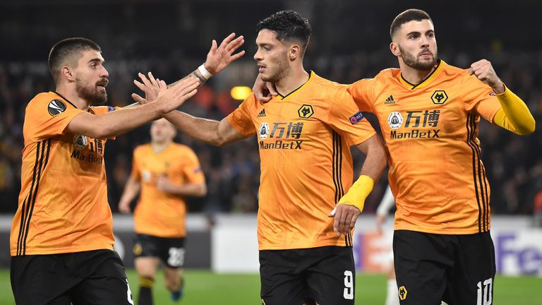Wolves celebrate their late winner over Slovan Bratislava