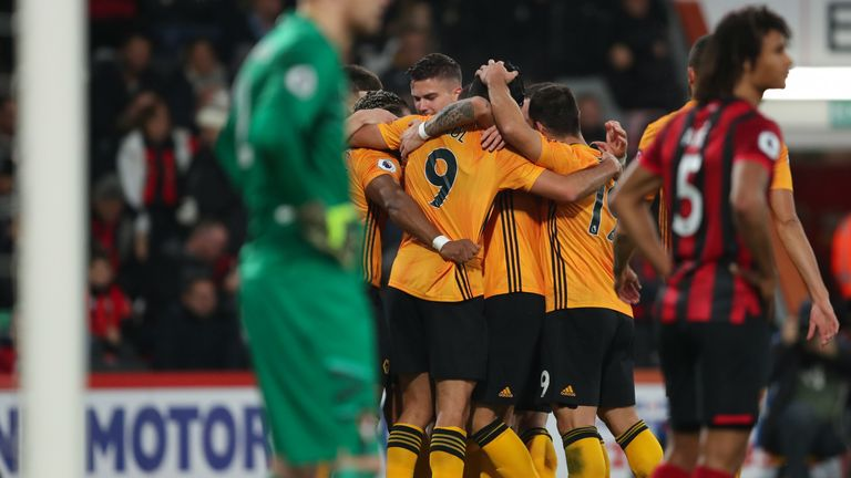 Wolves celebrate after Raul Jimenez scores their second goal
