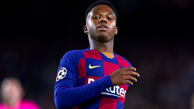 Ansu Fati became the youngest player to score a league goal for Barcelona when he was just 16 years and 304 days old