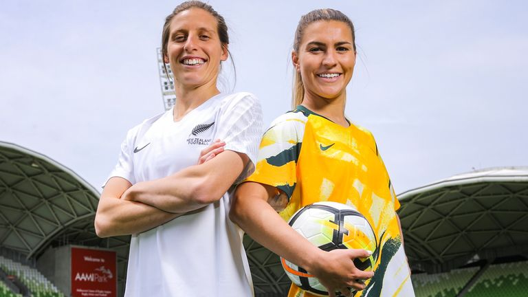 New Zealand defender Rebekah Stott and Australia's Stephanie Catley of Australia will hope to be playing in a home World Cup in 2023