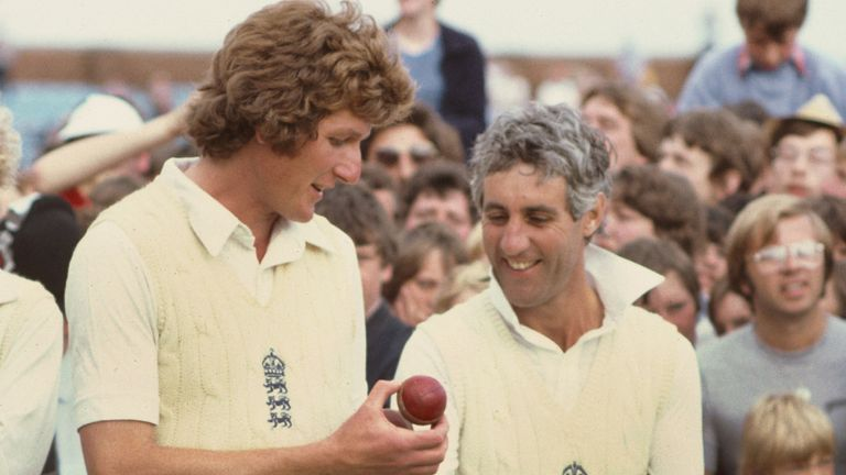Bob shares a joke with England captain Mike Brearley after England regain the Ashes in 1981