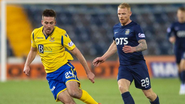 St Johnstone's Callum Booth (left) competes with Chris Burke