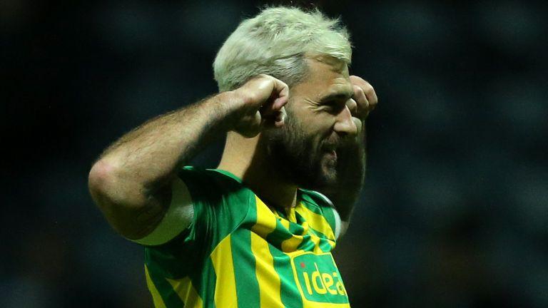 Charlie Austin celebrates scoring for West Brom
