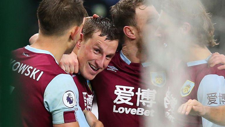 Chris Wood celebrates his goal with team-mates