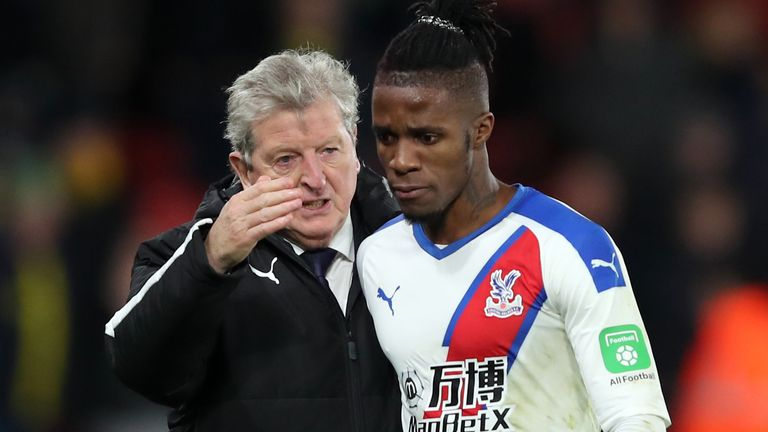 Crystal Palace boss Roy Hodgson has said he is relaxed over the future of Wilfried Zaha