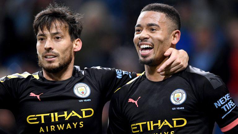 Gabriel Jesus celebrates scoring for Manchester City against Burnley with David Silva
