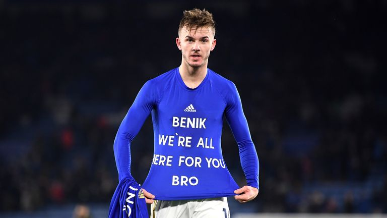 Leicester's James Maddison paid tribute to Afobe on his undershirt in the win against Everton last Sunday