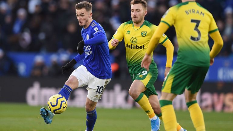 James Maddison took on his former club at the King Power Stadium