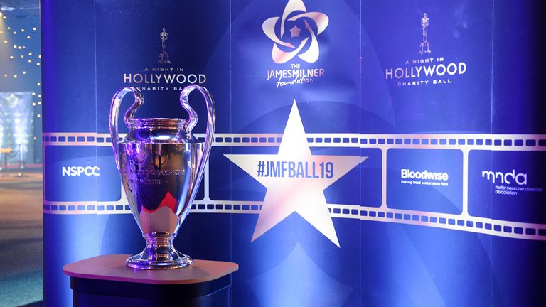 The Champions League trophy was on display at the Hollywood Ball