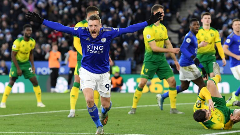 Vardy celebrates Leicester's equaliser that was later given as a Tim Krul own goal
