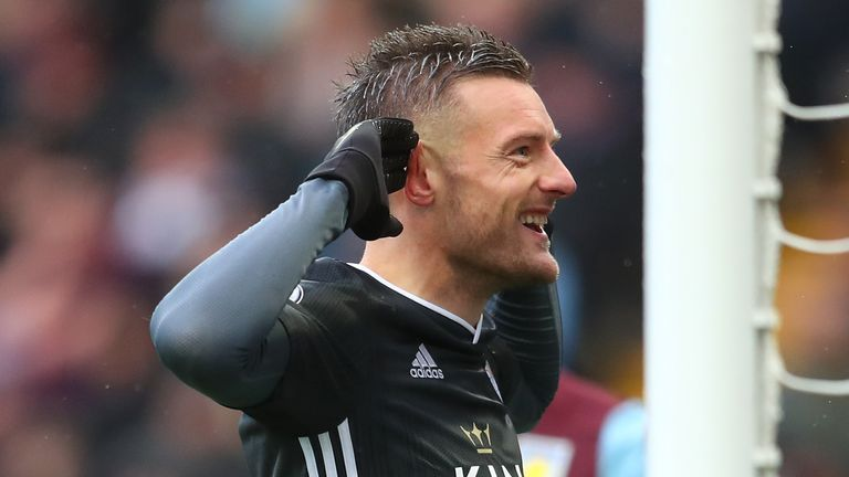 Jamie Vardy also scored in an eighth successive Premier League game, netting twice at Villa Park