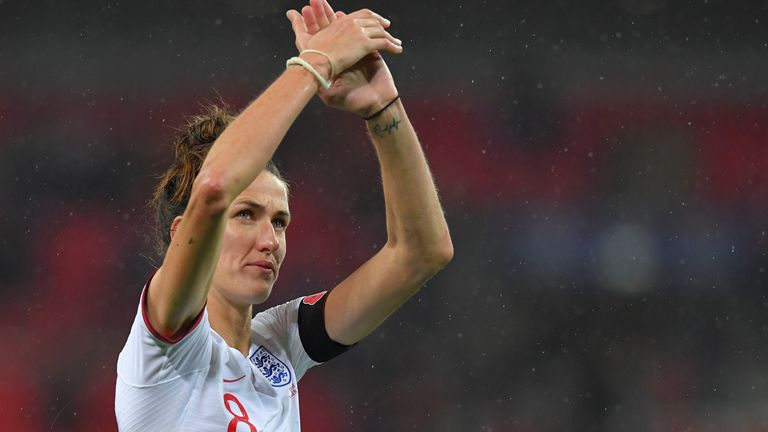 Jill Scott applauds the crowd after the England-Germany friendly in November