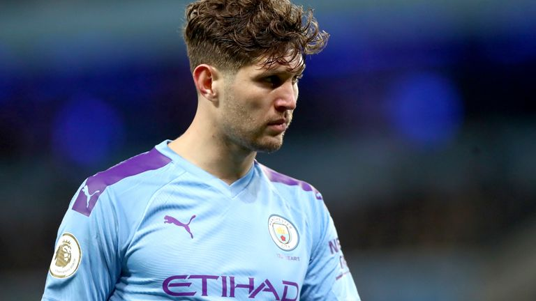 John Stones during the Manchester derby at the Etihad Stadium