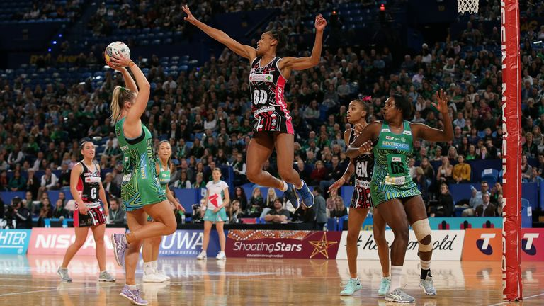 The defender showing her exceptional elevation for Adelaide Thunderbirds