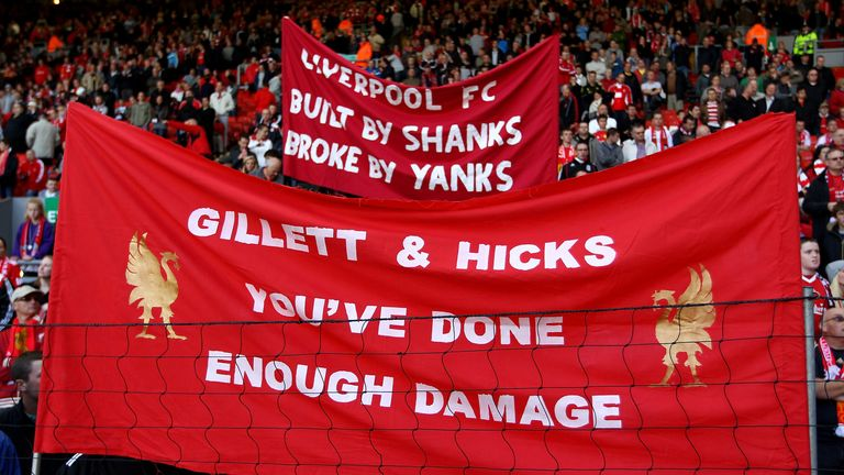Protests against Hicks and Gillett at Anfield became regular