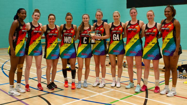 Manchester Thunder with the Mike Greenwood Trophy (Credit @ThunderNetball)