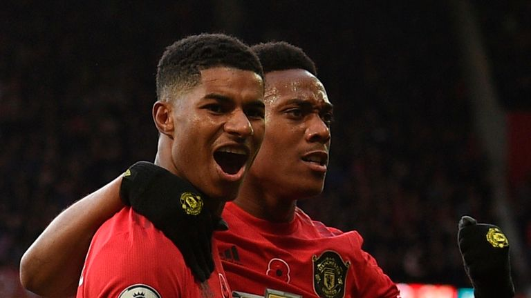 Anthony Martial and Marcus Rashford were on target at the Etihad