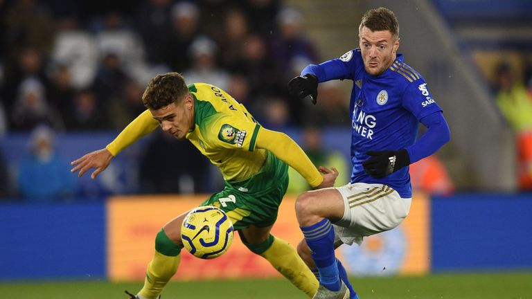 Max Aarons keeps a close eye on Vardy as Norwich earned a hard-fought point