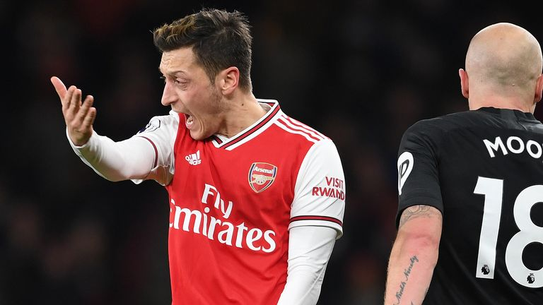 Mesut Ozil shows his frustration during Arsenal's home defeat by Brighton