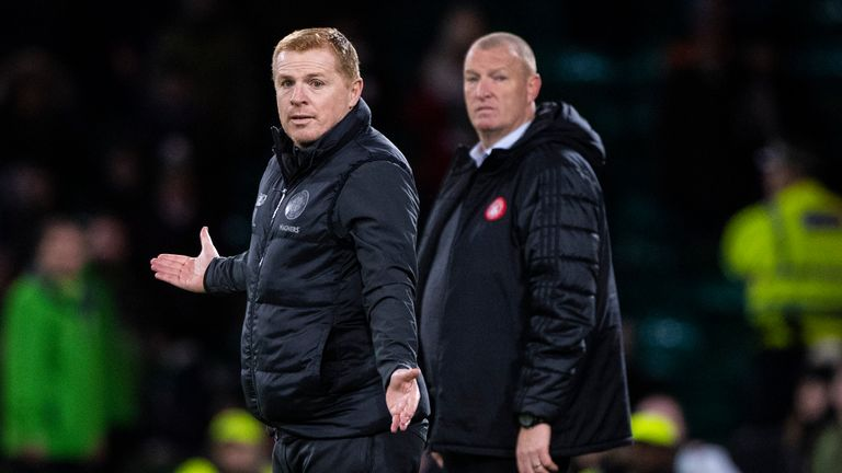 Neil Lennon on the touchline at Celtic Park