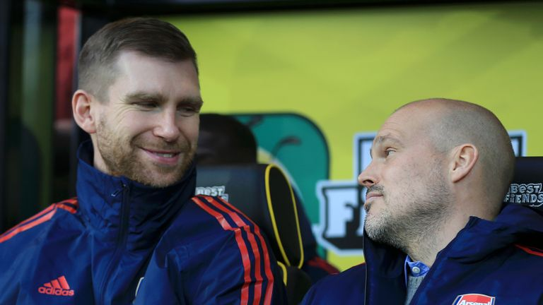 Assistant coach Per Mertesacker and Ljungberg during Sunday's 2-2 draw against Norwich