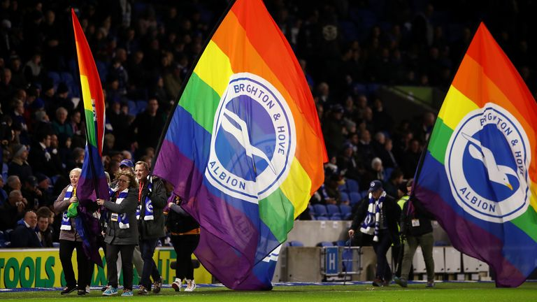 Brighton fans carried giant rainbow flags onto the pitch at the Amex
