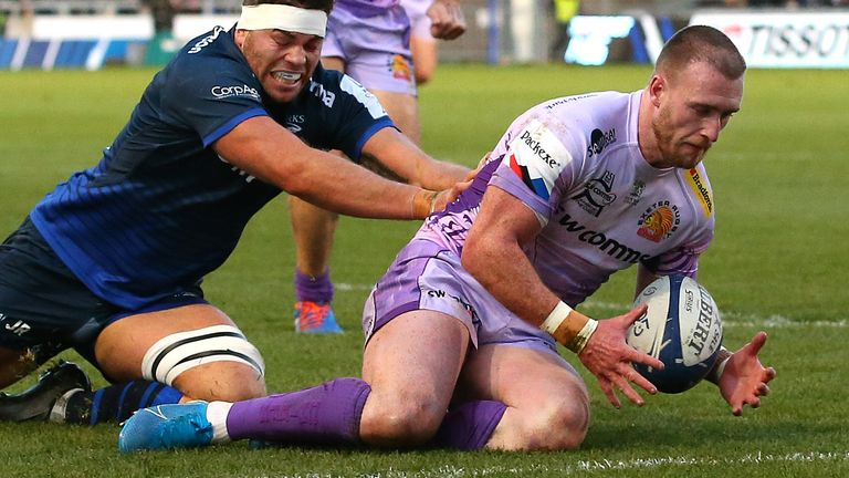 Stuart Hogg scored a try in Exeter's Champions Cup win at Sale in January
