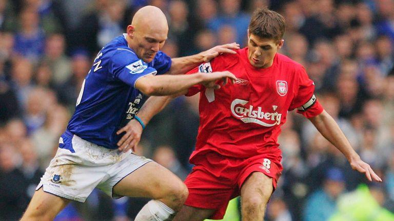 Gravesen battling with former Liverpool captain Steven Gerrard in a Merseyside derby
