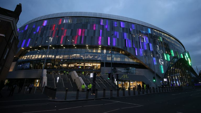 The Tottenham Hotspur Stadium was again lit up in rainbow colours