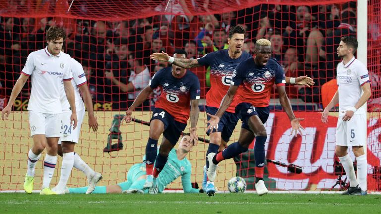 Victor Osimhen of Lille celebrates his goal against Chelsea