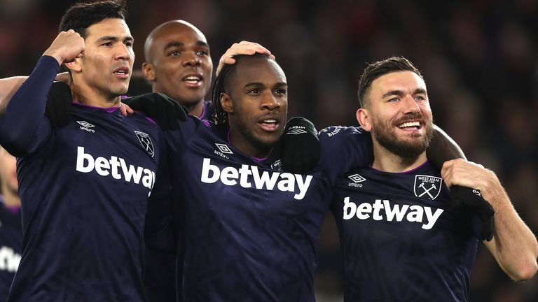 West Ham moved four points above the relegation zone with their win at Southampton