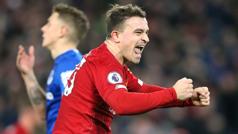 Xherdan Shaqiri celebrates as Liverpool re-established their eight point league