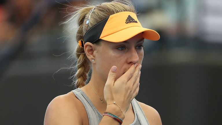 Angelique Kerber retired from the Adelaide International with a back injury