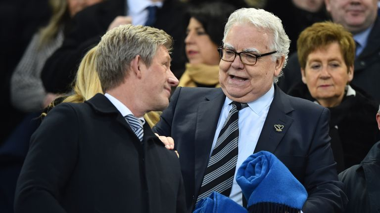 Everton chairman Bill Kenwright and director of football Marcel Brands, left