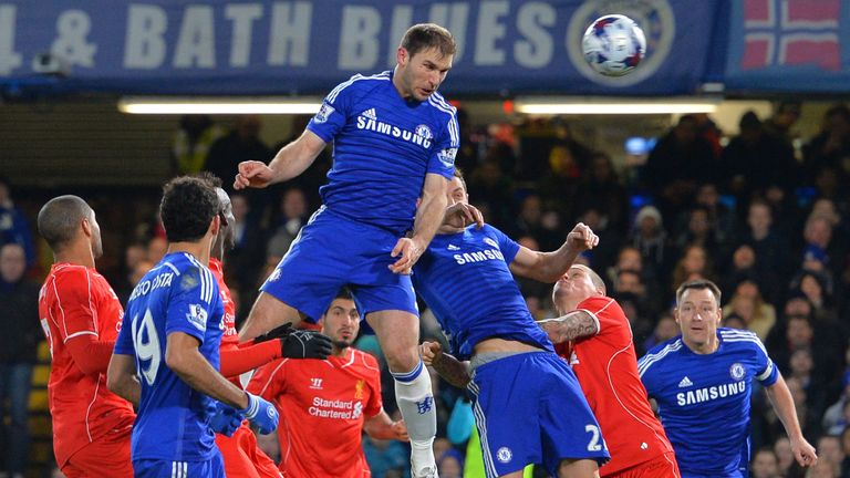 Branislav Ivanovic rises to head Chelsea in front against Liverpool in January 2015