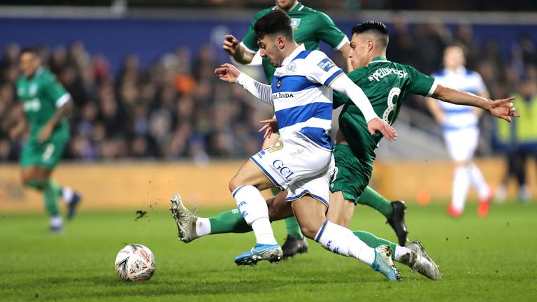 QPR's Ilias Chair takes on Sheffield Wednesday's Joey Pelupessy