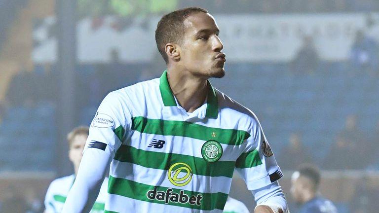 Christopher Jullien celebrates his header and Celtic's third at Kilmarnock