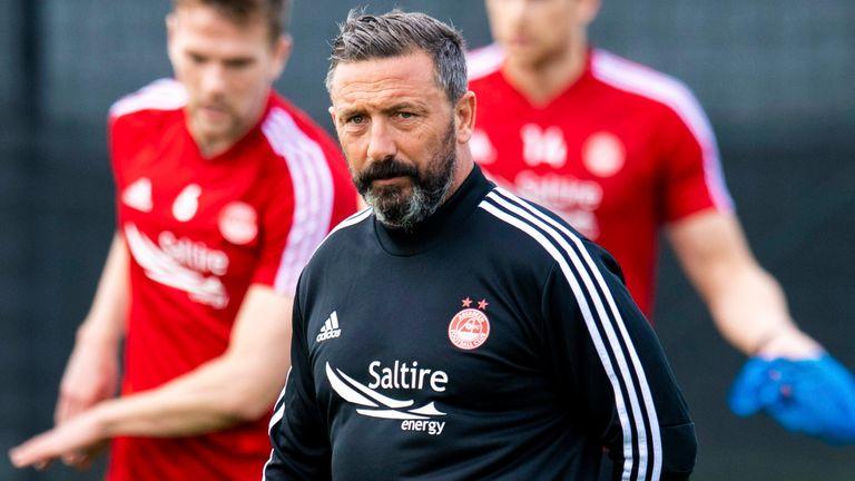 Aberdeen boss Derek McInnes leads training