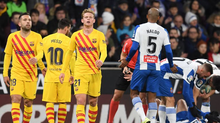 Frenkie de Jong was sent off during Barcelona's 2-2 draw with Espanyol