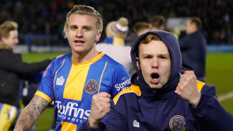 Jason Cummings celebrates Shrewsbury's win over Bristol City