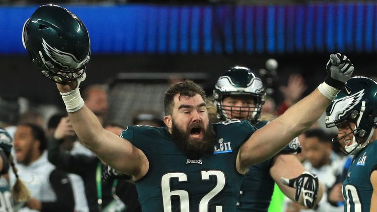 Jason Kelce (pictured) and Lane Johnson recalled their experiences of the two weeks preparing to play in the Super Bowl