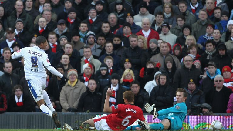 Jermaine Beckford securing a famous victory for Leeds in the FA Cup third round at Old Trafford