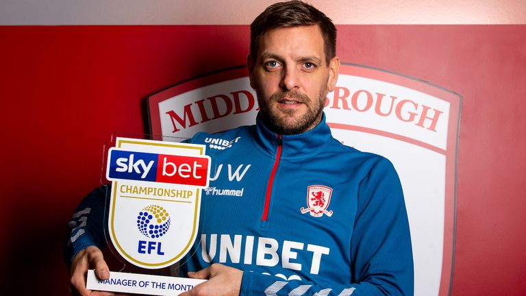 Jonathan Woodgate of Middlesbrough wins the Sky Bet Championship Manager of the Month award for December